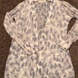 Loft gray leopard print cardigan